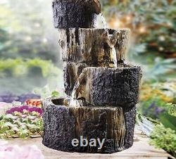 Solar Smart Natural Log Fontaine D'eau Jardin Caractéristique Décor Eau Effet D'automne