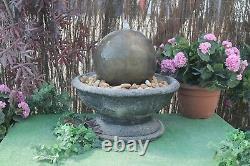 Stone Ball Sphere Garden Patio Fontaine D'eau Caractéristique Ornement Pompe Solaire