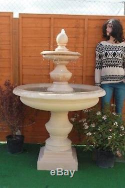 Stone Garden Grand Bowled Regis Extérieur Fontaine D'eau Caractéristiques Grès Solaire