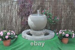 Stone Garden Water Feature Fountain Globe Bowl Puisard Avec Surround