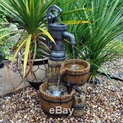 Tonneau En Bois Cascade Fontaine D'eau Effet De Bois Jardin Neuf