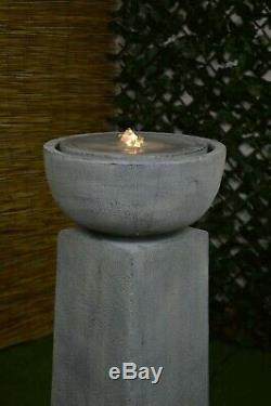 Trafalgar Tall Garden Water Feature Fontaine Light Stone Led Autonome