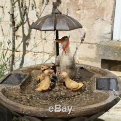Umbrella Famille De Canard Birdbath Eau Solaire Caractéristiques Fontaine Idéal Patio Et Jardin