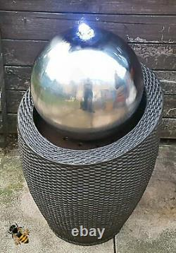 Water Feature Fountain Stainless Steel Ball Led Lights Rattan Style Outdoor New
