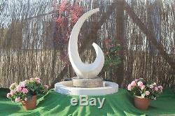 White Stone Water Garden Feature Fontaine Shard Sculpter Avec Surround Puisard