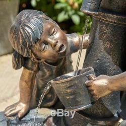 Wido Bronze Boy & Girl Pompe À Main Jardin Fond D'eau En Fonction Extérieur / Intérieur