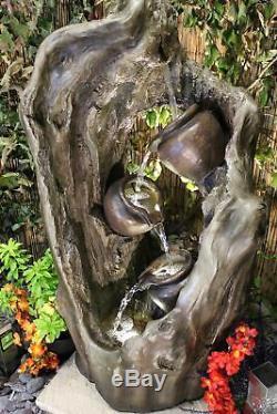 Woodland Trio Woodland Water Garden Feature, Énergie Solaire Fontaine D'extérieur