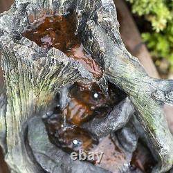 Woodlands Twist Water Feature, Led Light Ndd Garden Cascade Water Fountain