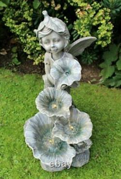 XL Grande Fille D'ange De Fée Extérieure Led Lumières Jardin Fontaine Fontaine Caractéristique Décor